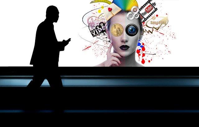 businessman, mobile phone, head